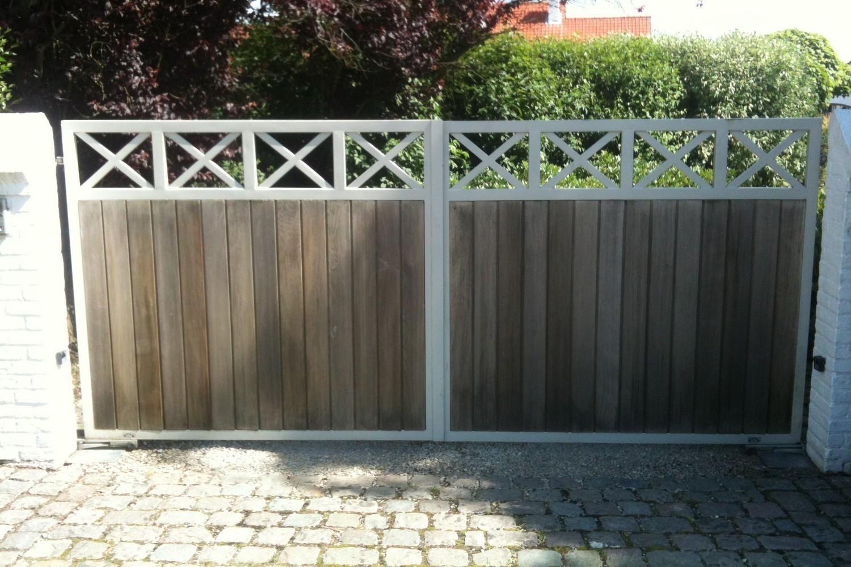 portail fer et bois